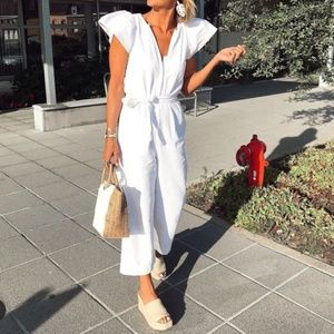 Zara White Puff Sleeve Jumpsuit Bloggers Fav